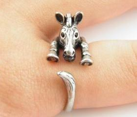 Zebra Animal Wrap Ring - Silver