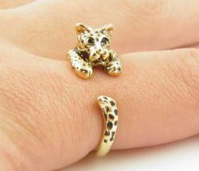 Leopard Animal Wrap Ring - Shiny Gold