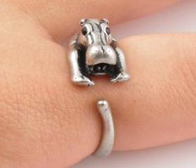 Hippo Animal Wrap Ring - Silver