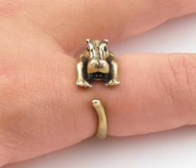 Hippo Animal Wrap Ring - Gold