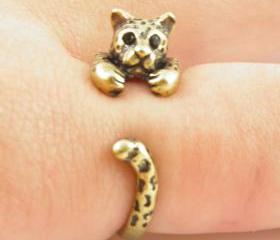 Leopard Animal Wrap Ring - Gold