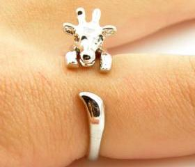 Giraffe Animal Wrap Ring - Shiny Silver